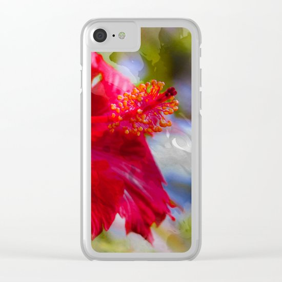 Red Hibiscus Clear iPhone Case