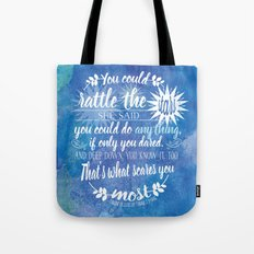 Throne of Glass by Sarah J. Maas Book Quote - Rattle The Stars Tote Bag