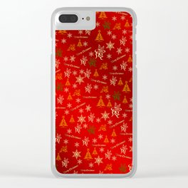 red Merry christmas text in gold, beautiful reindeer, green fir trees, bright stars festive, elegant Clear iPhone Case