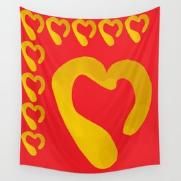 Gold Hearts on Red Wall Tapestry