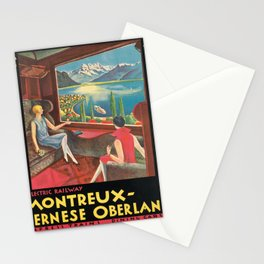 retro montreux - bernese oberland   the golden pass route. 1921  Stationery Cards