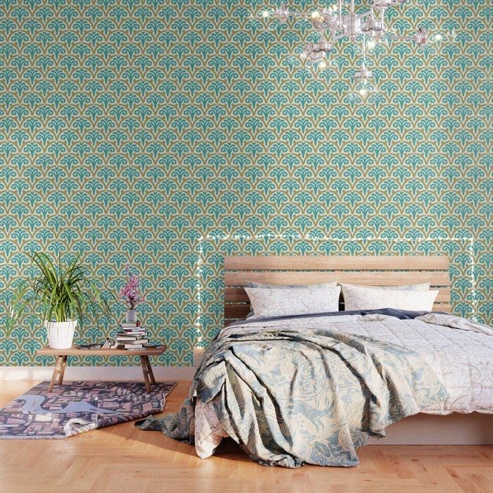 Floral Scallop Pattern Sage and Turquoise Wallpaper
