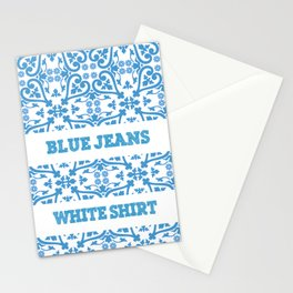 blue jeans, white hirt Stationery Cards