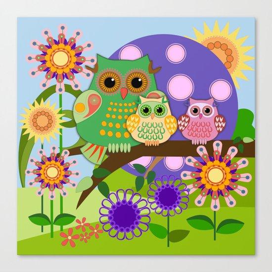 Owls, Flowers Fantasy design Canvas Print