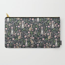 Cute rabbits (dark blue) Carry-All Pouch