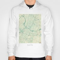 austin Hoodies featuring Austin Map Blue Vintage by City Art Posters