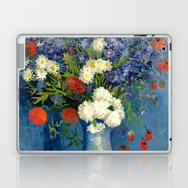 Vase With Cornflowers And Poppies Laptop & iPad Skin