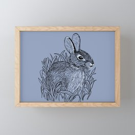 Bunny Rabbit in grass Framed Mini Art Print