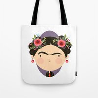 frida Tote Bags featuring Frida by Maria Jose Da Luz