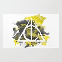 deathly hallows Area & Throw Rugs featuring The Deathly Hallows (Hufflepuff) by FictionTea