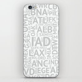 Grey Airport Codes iPhone Skin