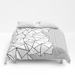 Abstraction Outline Grid on Side White Comforters