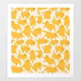 Yellow Cats Pattern Art Print