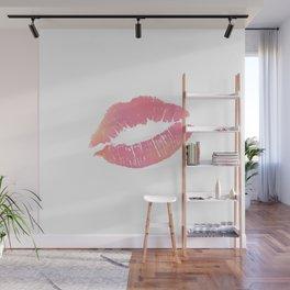 Watercolor Pink Lips Lipstick Chic Romantic Kiss Girls Bedroom Wall Decor fashion poster grl pwr Wall Mural
