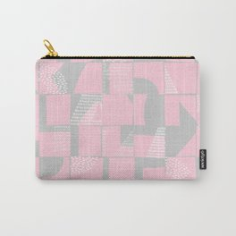 Blush and Gray Typographical Fragments Cheater Quilt Carry-All Pouch