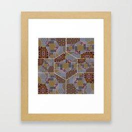 Golden harvest patchwork design Framed Art Print