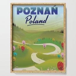 Poznań Poland travel poster Serving Tray