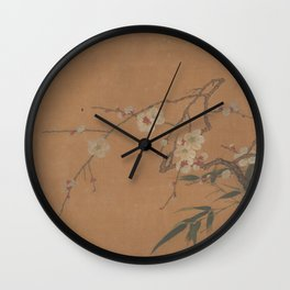 Flowering Plum and Bamboo Wall Clock