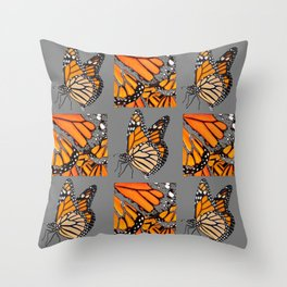 DECORATIVE MONARCH BUTTERFLY GREY DISPLAY CHART Throw Pillow