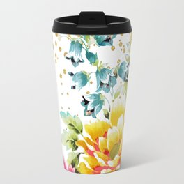 watercolor floral paint and gold confetti design Travel Mug