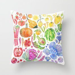 Rainbow of Fruits and Vegetables Throw Pillow