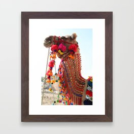 Boho Camel with Tassels and Pom Poms, in India Framed Art Print