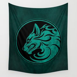 Teal Blue Growling Wolf Disc Wall Tapestry