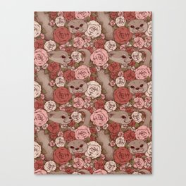 Rose Otters Canvas Print