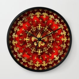 Fleur-de-lis ornament Red Marble and Gold Wall Clock