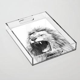 Black White Fierce Lion Acrylic Tray