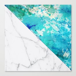 Teal watercolor paint splatters white marble Canvas Print