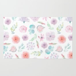 Pastel pink lilac watercolor hand painted modern floral Rug