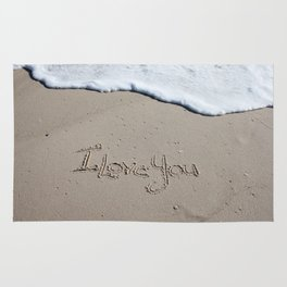 I Love You Beach Writing Rug