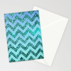 glittery ocean chevron Stationery Cards