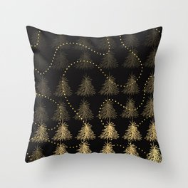Fading Trees Gold on black Throw Pillow