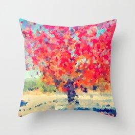 Orange Tree Watercolor digital Throw Pillow