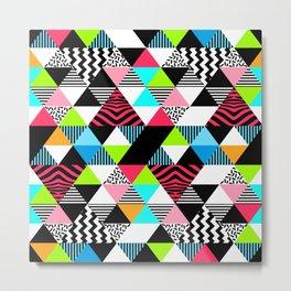 Vintage Retro 1980s 80s New Wave Neon Jams Triangular Pattern Metal Print