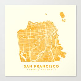 San Francisco City Map 03 Canvas Print