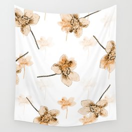 Peach Flowers Wall Tapestry
