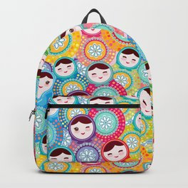 Russian dolls matryoshka, pink blue green colors colorful bright pattern Backpack