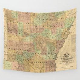 Vintage Map of Arkansas (1839) Wall Tapestry