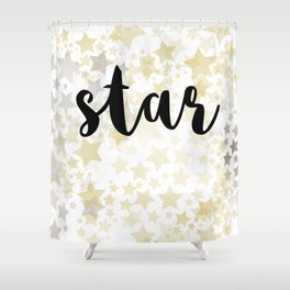 Golden Stars Shower Curtain