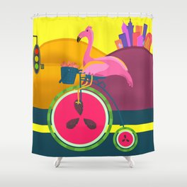Flamingos Day Out Shower Curtain