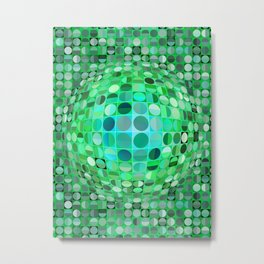 Optical Illusion Sphere - Green Metal Print