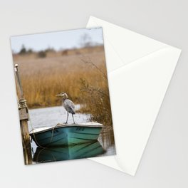 Great Blue Heron on Fishing Boat Stationery Cards