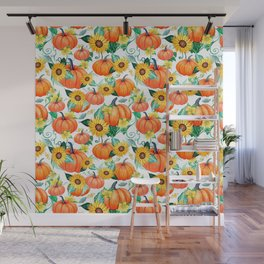 Pumpkins and Sunflowers with moths, watercolor botanical Wall Mural
