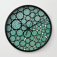 trees Wall Clocks featuring Blooming Trees by Pom Graphic Design