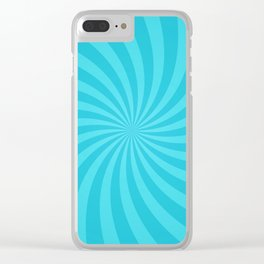 Blue Spiral Ray Stripes Clear iPhone Case