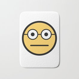 Smiley Face   Geeky Glasses Straight Face Bath Mat
