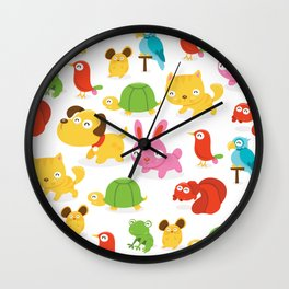 Happy Pet Shop Animals Pattern Wall Clock
